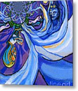 Blue And Purple Girl With Tree And Owl Upside Down Metal Print by Genevieve Esson