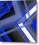 Blue And White Geometric Art Metal Print by Mario Perez