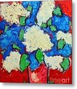 Blue And White Lilac Bouquet Metal Print by Ana Maria Edulescu