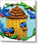 Blue Birds Fly Home Metal Print by Amy Vangsgard