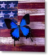 Blue Butterfly On American Flag Metal Print by Garry Gay