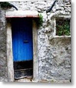 Blue Door  On Rustic House Metal Print by Lainie Wrightson