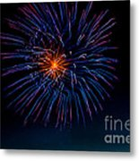 Blue Firework Flower Metal Print by Robert Bales