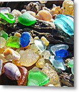 Blue Green Seaglass Art Prinst Agates Shells Metal Print by Baslee Troutman