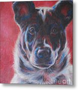 Blue Merle On Red Metal Print by Kimberly Santini