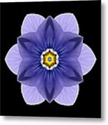 Blue Pansy I Flower Mandala Metal Print by David J Bookbinder