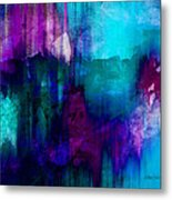 Blue Rain  Abstract Art   Metal Print by Ann Powell