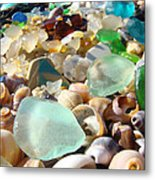 Blue Seaglass Beach Art Prints Shells Agates Metal Print by Baslee Troutman