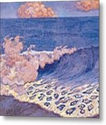 Blue Seascape Wave Effect Metal Print by Georges Lacombe