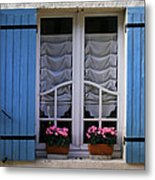 Blue Window Shutters Metal Print by Georgia Fowler