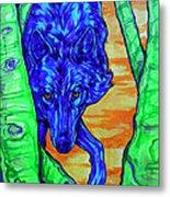 Blue Wolf Metal Print by Derrick Higgins