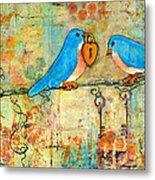 Bluebird Painting - Art Key To My Heart Metal Print by Blenda Studio