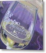 Bluestone Vineyard Wineglass Metal Print by Donna Tuten