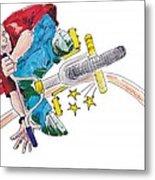 Bmx Drawing Peg Grind Metal Print by Mike Jory