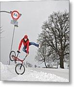 Bmx Flatland In The Snow - Monika Hinz Jumping Metal Print by Matthias Hauser