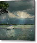 Boat - Canandaigua Ny - Tranquility Before The Storm Metal Print by Mike Savad