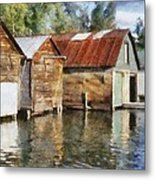 Boathouses On The Torch River Ll Metal Print by Michelle Calkins