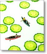 Boating Among Cucumber Slices Miniature Art Metal Print by Paul Ge