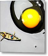 Boating Around Egg Little People On Food Metal Print by Paul Ge