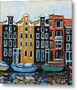 Boats In Front Of The Buildings Vi Metal Print by Xueling Zou