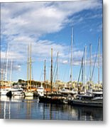 Boats In Port Vell Metal Print by Fabrizio Troiani