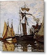 Boats In The Port Of Honfleur Metal Print by L Brown