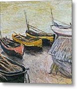 Boats On The Beach Metal Print by Claude Monet