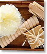 Body Care Accessories In Wood Tray Metal Print by Olivier Le Queinec