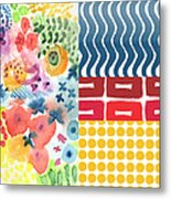 Bold Boho Patchwork- Abstract Art Metal Print by Linda Woods