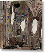 Bombed Out Interior Of Albert Church Metal Print by Ernest Proctor