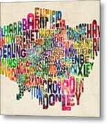 Boroughs Of London Typography Text Map Metal Print by Michael Tompsett