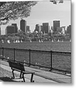 Boston Charles River Black And White  Metal Print by John Burk