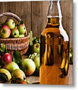 Bottled Cider With Apples Metal Print by Amanda Elwell