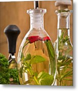Bottles Of Olive Oil Metal Print by Amanda And Christopher Elwell