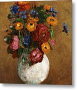Bouquet Of Flowers In A White Vase Metal Print by Odilon Redon