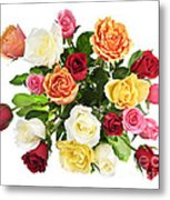 Bouquet Of Roses From Above Metal Print by Elena Elisseeva