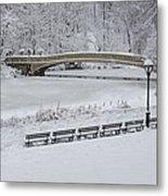 Bow Bridge Central Park Winter Wonderland Metal Print by Susan Candelario
