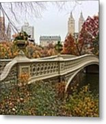 Bow Bridge In Central Park Metal Print by June Marie Sobrito