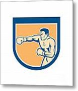 Boxer Boxing Punching Shield Cartoon Metal Print by Aloysius Patrimonio