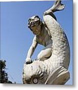 Boy And Dolphin Sculpture By Alexander Munro In Hyde Park London England Metal Print by Robert Preston