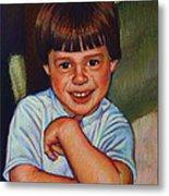 Boy In Blue Shirt Metal Print by Kenneth Cobb