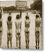 Boys Bathing In The Park Clapham Metal Print by English Photographer