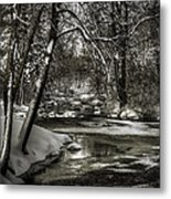 Brainards Bridge After A Snow Storm 4 Metal Print by Thomas Young
