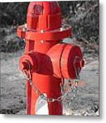 Brand New Red Hydrant On Bw Metal Print by Jeff at JSJ Photography