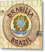 Brazil Coat Of Arms Metal Print by Debbie DeWitt