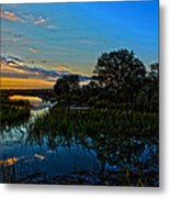 Break Of Dawn Over Low Country Marsh Metal Print by Savlen Art