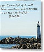 Breakwater Lighthouse Santa Cruz With Verse  Metal Print by Barbara Snyder