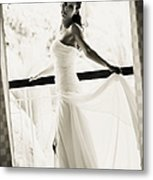 Bride At The Balcony. Black And White Metal Print by Jenny Rainbow