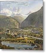 Brig On The Rhone, Bernese Alps Metal Print by Swiss School