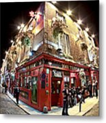 Bright Lights Of Temple Bar In Dublin Ireland Metal Print by Mark E Tisdale